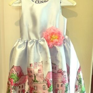 Puppy and Julie city scape dress worn twice